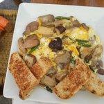 Mushrooms, eggs, and asparagus... incredible