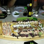 Amazing Sushi boat .. one sushi even contained chocolate!