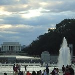 As seen from the World War II memorial on the Mall.