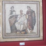 A mosaic of Virgil the Roman author of the 'The Aeneid' with the nymphs of drama and writing