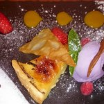 'zesty' lemon tart with pomegranate sorbet etc