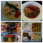 Seafood platter, Spaghetti marinara, Fish curry, Coral trout