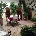 A view across the central area of the Riad showing the courtyard