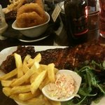 ribs, chips and huge onion rings