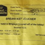 Breakfast voucher.