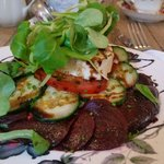Beetroot and Pantysgawn Welsh goat's cheese salad