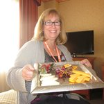 Already eaten fruit and cheese plate left in the room! Gross!