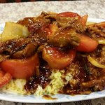 Beef and tomato fried rice. Generous with the beef and tomato.  Excellent flavor.