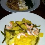 Papparadelle with shrimp, pearl pasta with crab