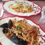 Scialatielli ai frutti di mari & Paccheri con gamberi, noci e pecorino campano