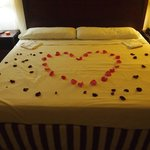 bed on the day of wedding