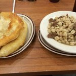 Fried Navajo bread with Hominy corn stew