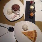 Salted chocolate soufflé!  Lemon tart with mastiha ice cream..! The desert was complimentary fr