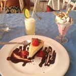 Stawberry cheesecake, ice cream with cookie & margarita...good eating!