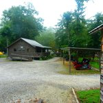 Motorcycle shelters between cabins