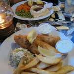 crab cakes, fish and chips