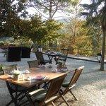 terrasse petit déjeuner avec la vue