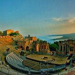From the Greek Theater out to Mount Etna and sunset