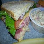 Ham & Cheddar on Sourdough with housemade potaoe salad.