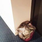 Garbage left by elevator.