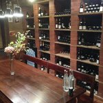 Downstairs in the wine room.