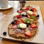Gluten free pancakes with fruit... Please add Nutella!!!!