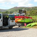 Arran Adventure Base at Auchrannie Hotel with mountian backdrop