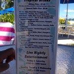 Barefoot bar menu