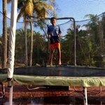 Grandson Aditya on the trampline