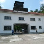 The guardhouse gate that led to Dachau Camp.