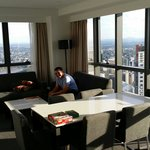 Living area in the three bedroom apartment, 69th floor