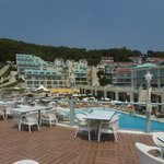 Up on the Milky Way bar looking back at pool and hotel