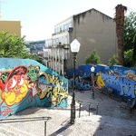 View of graffiti near Lavra Elevador (Ascensor/funicular) close to Lisbonaire