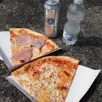 Pizza bellevue(ham) and Pizza margerita (plain) enjoy by lake zurich! Oh and if course Sternen B
