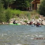 kayaking in hoback river right next to lodge