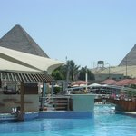 View of Pyramids poolside.