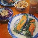 Vegan sweet potato rice rolls and cabbage salad
