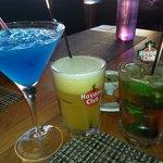Cocktails (blue lagoon, Samana et Mojito)