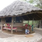 Amazing tent under a thatched roof structure