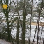 room view from upper level facing highway during ice storm
