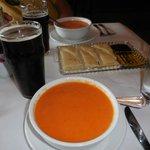 Wonderful tomato soup, focaccia bread, and dark ale!