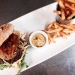 Tudges wild venison burger • alex gooch ciabatta • rocket • coleslaw • caramelised onions • toma