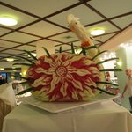 one of the many fruit carvings in the main resturant