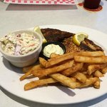 Grilled fish, cole slaw and fries