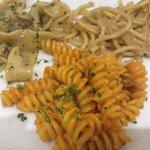 pappardelle funghi e tartufo, fusilli friulana (best pasta on menu), bavette acciughe e pomodrin