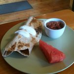 nicely spiced breakfast Burrito with our homemade Salsa