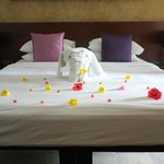 Bed and flower decorations