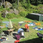 Our Gear Drying Out in the Beautiful Backyard at Nootka Gold