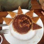 Oatmeal Pancake with Chocolate Sauce