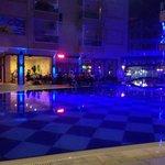 Pool area in the night